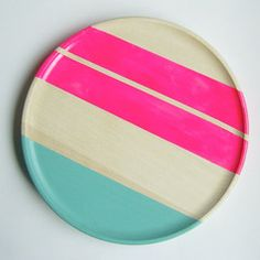 Modern Neon Hardwood Dinner Plate, Pink from Nicole Porter Design. Shop more products from Nicole Porter Design on Wanelo.