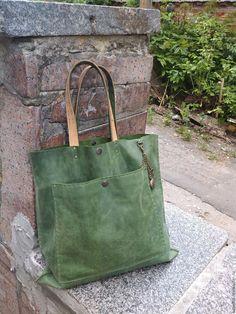 """Купить Сумка-шоппер """"Простая зеленая """" - зеленый, сумка ручной работы"""