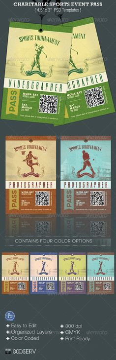 Charitable Sports Events Pass Templates are for sports club, charity organization, school fundraisers and compitition tournaments. The retro grundge style will give your event a nostalgic appeal. Make it part of your arsenal in your template database