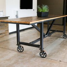 Furniture design/build studio in Dallas & Denver. by RevivalSupplyCo Barnwood Coffee Table, Wood Bar Table, Steel Table, A Table, Pipe Table, Table Legs, Dining Table, Reclaimed Wood Bars, Reclaimed Wood Projects