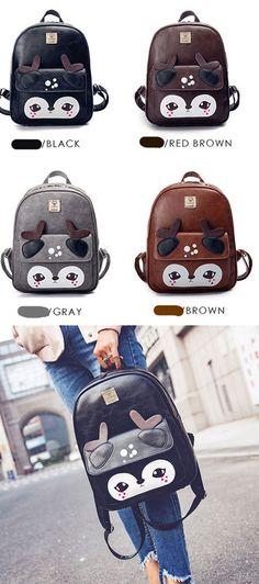 Cute Cartoon Shy Deer Splicing PU Girl's College Backpack School Bag which one do you like? #backpack #cartoon #bear #bag #school #student