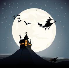 Halloween Night Vector Set III - Witch, moon and black cat @freebievectors