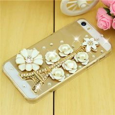 Eiffel Tower Flower Rhinestone iPhone Case