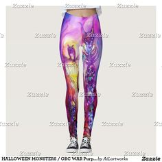 HALLOWEEN MONSTERS / ORC WAR Purple Leggings #fashion #woman #fantasy #owl #clothing #horror #monster #art