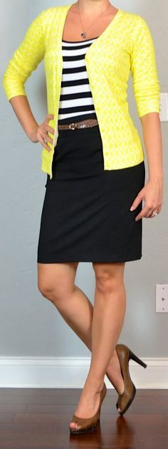 Outfit Posts: outfit post: striped tank, yellow cardigan, black pencil skirt, brown woven belt, brown peep toed pump