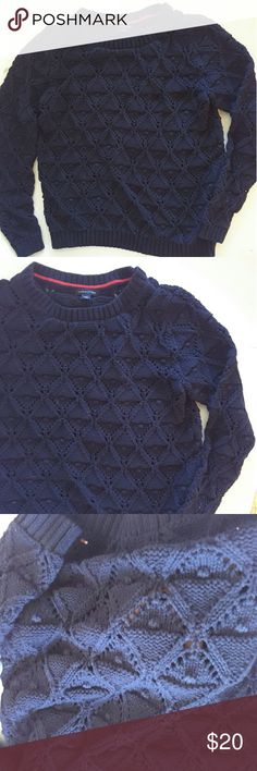 Tommy Hilfiger Navy blue sweater diamond and open knit pattern 20 inches from armpit to armpit 23 inches from shoulder to bottom of sweater Tommy Hilfiger Sweaters Crew & Scoop Necks