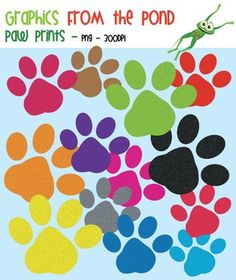 FREE!  Paw Prints - FREE Graphics for Personal and Commercial UseThis is a set of 14 individual png files to use in your latest teaching resource files. All files are 300 dpi (for clear, crisp printing!). The set includes a paw print in a variety of colors and a line art paw.