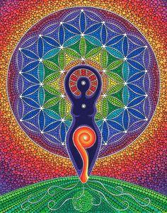 Gorgeous Flower Mandala by Elspeth McLean Mandala Art, Flower Mandala, Sacred Geometry Art, Sacred Art, Geometry Tattoo, Sacred Feminine, Divine Feminine, Feminine Energy, Dot Painting