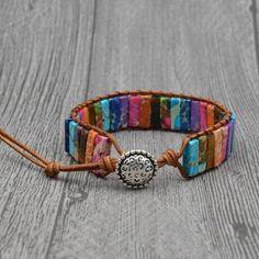 IminiJewelry Fashion Love Heart Beaded Leather 3 Wrap Bracelets for Women Teen Girls Natural Stone Nice Gifts New