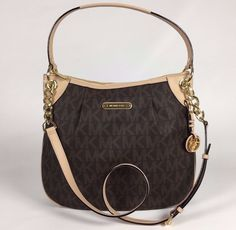 NEW Michael Kors Jet Set Large PVC Signature Convertible Shoulder Bag Brown #MichaelKors #ShoulderBag