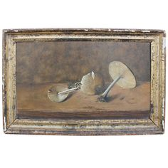 Early Stunning Mushroom Still Life in Gilt Frame | From a unique collection of antique and modern paintings at https://www.1stdibs.com/furniture/wall-decorations/paintings/