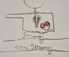 Oklahoma Strong, Tornadoes, Okies, Sterling, Gold, Necklace. Wire Wrapped Jewelry by Intricate Wire Designs on Etsy, $32.00