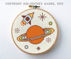 Outer Space Cross Stitch Pattern Instant Download PDF Digital