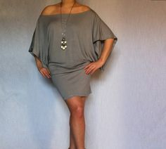 Wide Off Shoulder Dress made from Soft Cotton with Elastane. $50.00, via Etsy.