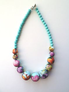 Colorful necklace  spring colors bright colors by sunflowergifts1