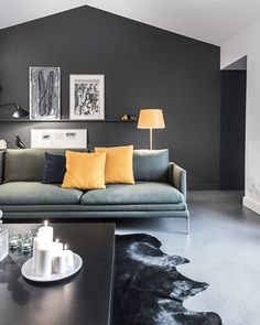 All Black Living Room . All Black Living Room . 15 Black Feature Walls to Make You Rethink All Your Decor Grey Walls Living Room, Living Room Green, Living Room Sofa, Living Room Interior, Living Room Decor, Feature Wall Living Room, Interior Walls, Interior Design, Living Rooms
