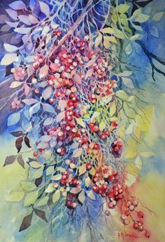 Items similar to Cascata di bacche, 52 x 36 on Etsy Watercolor Negative Painting, Watercolor And Ink, Watercolor Disney, Space Painting, Bloom Where You Are Planted, Disney Art, Painting Techniques, Illustration Art, Illustrations