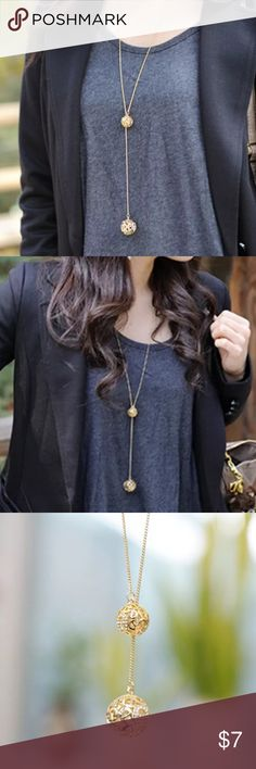 Double gold ball chain necklace A stones light Super cute lightweight metal golden balls. Hollow. A design Jewelry Necklaces