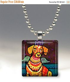55% Off TODAY- Dachshund Angel Necklace Doxie Dog Folk Art Jewelry - Pendant Glass Gift Art Heather Galler Gift- Weiner Dog Lovers Abstract