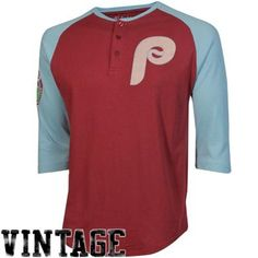 8440b8f51cc Philadelphia Phillies Slider Vintage Three-Quarter Raglan Sleeve T-Shirt -  Red Light Blue
