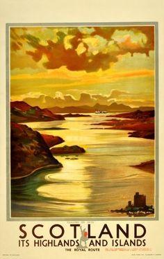 BRITISH TRAIN POSTERS -Scotland Cuillins of Skye British Railways, 1920s - original vintage poster by Tom Gilfillan listed on AntikBar.co.uk  jul16