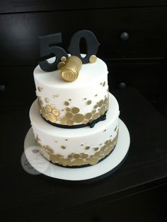 Champagne themed 50th birthday cake | The brief for this cak… | Flickr
