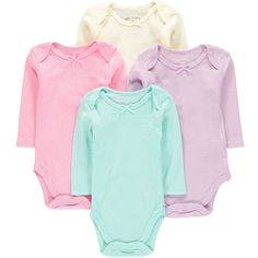 Wan-A-Beez 4 Pack Baby Girls' and Boys' Long Sleeve Bodysuits (24 Months, Pointelle)