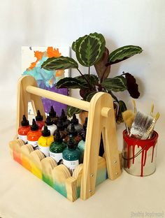 Unicorn Spit Storage Caddy - with FREE building plans! Easy Woodworking Ideas, Woodworking Plans, Unicorn Spit Stain, Storage Caddy, Floating Shelves Diy, Recycled Furniture, Building Plans, Easy Peasy, Wood Crafts
