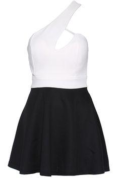 ROMWE | ROMWE Single-shoulder Dual-tone Dress, The Latest Street Fashion