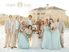 tan suites, aqua ties, aqua bridesmaids dress, tan and aqua (Pensacola Wedding Photographer)