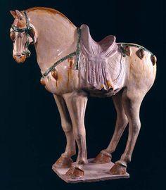 Tang Sancai-Glazed Horse -China 618 AD to 907 AD T'ang Dynasty Glazed Terracotta