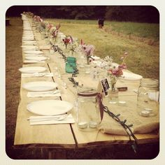 Extra long rustic picnic table for reception