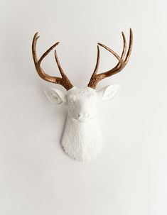 The Lydia White W/ Bronze Metallic Antlers by WhiteFauxTaxidermy, $129.99