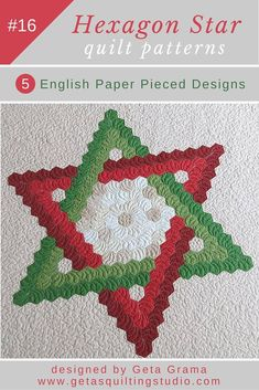 Hexagon star English paper pieced quilt pattern- 5 design variations for quick and easy Star of David quilts. via @getagrama