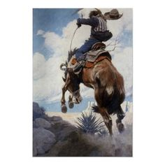 Bucking by NC Wyeth, Vintage Cowboy Rodeo Horse Posters from Zazzle.com