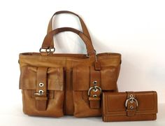 Coach Soho Purse F06468 XL Tote Shopper & Matching Wallet Hand Bag Leather  #Coach #TotesShoppers