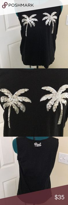 Pink Victoria's Secret Sequined Palm Trees Tank Victoria Secret Pink sleeveless black tank with 2 silver sequined palm trees. Perfect condition. Worn once. Victoria's Secret Tops Tank Tops