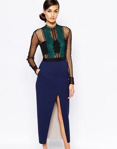 Image 1 ofSelf Portrait Lace Trimmed Pencil Dress