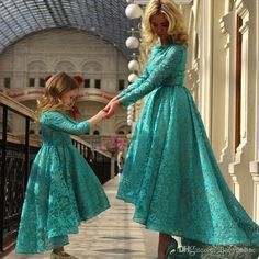 New Arabia Daughter And Mother Dresses Dark Teal Jewel Ball Gown With Long Sleeves Hi Lo Evening Dress Plus Size Flower Girls Dresses Bo8941 White Dresses For Girls White Flower Girl Dresses From Babyonline, $76.94| Dhgate.Com