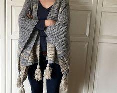 Crochet Wrap Pattern EASY, Crochet Blanket Wrap, Ruana, Poncho, Cardigan, Blanket Shawl, Crochet Sweater, Boho Crochet, Crochet Top, PDF