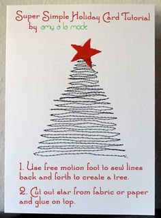 Machine-Sewn Postcard - 34 Adorable DIY Christmas Postcard Ideas