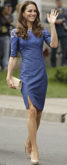Duchess of Cambridge.. electric blue Jacquenta dress by Erdem, LK Bennett beige heels with a matching nude envelope clutch.