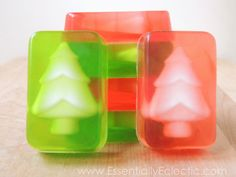 These Christmas tree soaps are super easy to make and are great as gifts for the holidays! Learn how to make your own tree soap inserts with this tutorial.   DIY Bath and Body   Soap Making   Melt and Pour Soap   Gift Idea   Stocking Stuffer   Mom Makes Joy