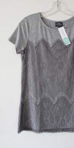 Market & Spruce Memphis Lace Overlay Knit Shirt from Stitch Fix. Simple feminine detail for casual days. Can be dressed up or down for business or play!