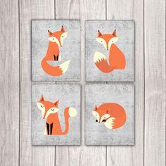 Fox Nursery Decor - Set of Four 8x10s