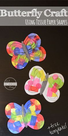 Tissue Paper Butterfly - this is such a fun, cute, and easy to make craft for kids. Spring crafts, summer crafts for kids for toddler, preschool, prek, kindergarten, first grade.