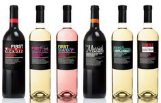 """Set of 6 Personalized Wine Labels for Baby Shower Gift or Unique Newborn Parents Gift Highlighting """"First"""" Landmark Moments as a New Parents"""