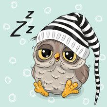 Illustration about Sleeping cute owl in a hood on a blue background. Illustration of childbirth, birthday, decoration - 78202023