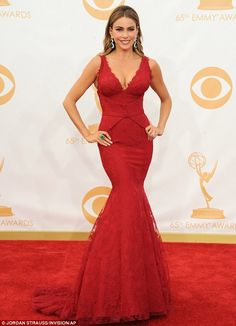 Sofia Vergara, 41, wowed in an eye-popping red lace Vera Wang dress at the 65th Emmy Awards in LA on Sunday