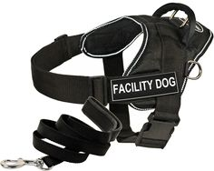 Dean and Tyler Bundle - One 'DT Fun Works' Harness, Facility Dog, Reflective, Medium   One 'Padded Puppy' Leash, 6 FT Stainless Steel Snap - Black * Learn more by visiting the image link. (This is an affiliate link and I receive a commission for the sales)